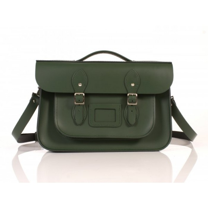 """14"""" Racing Green English Leather Satchel Briefcase"""
