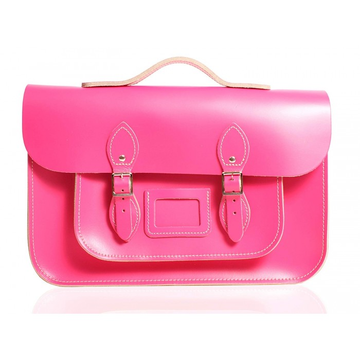 "12"" Hot Pink English Leather Satchel - Handleable"