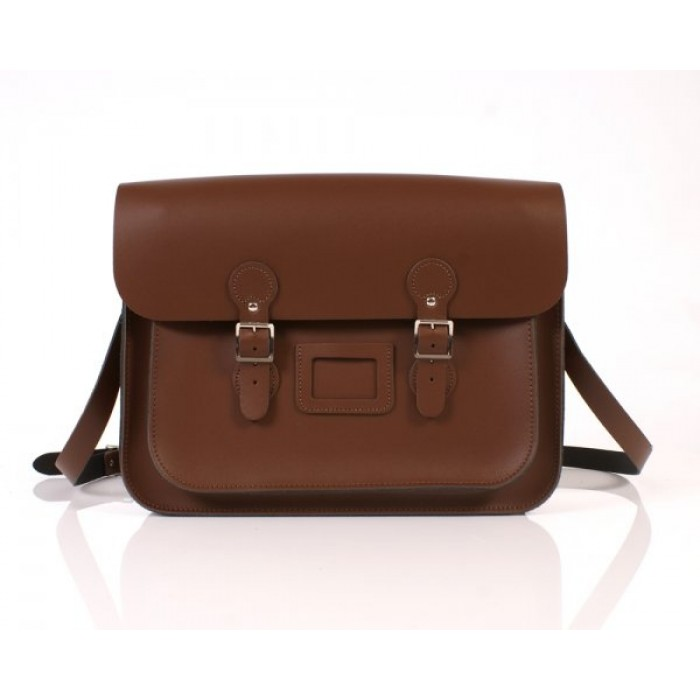 "15"" Chestnut Brown English Leather Satchel - Circle"