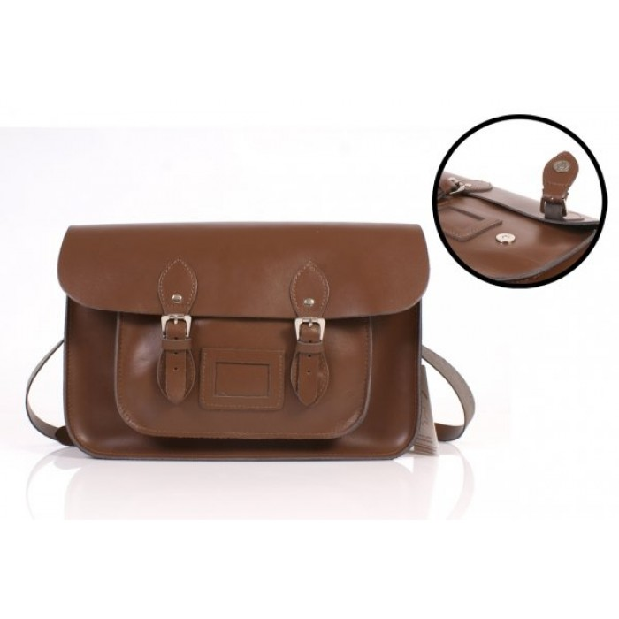 """15"""" Chestnut Brown English Leather Satchel - Magnetic"""