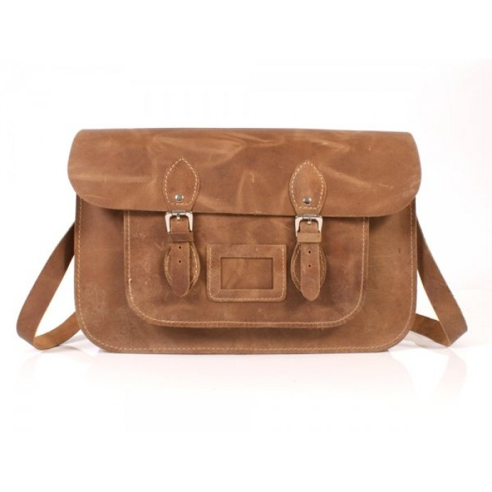"15"" Hunter Light Tan English Leather Satchel - Magnetic"