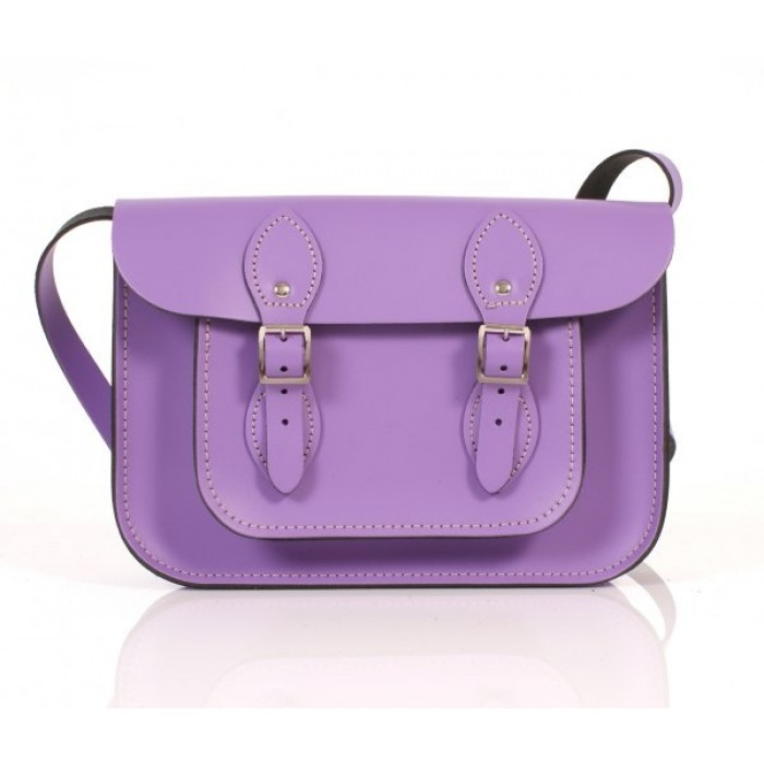 "11"" Bellflower Purple English Leather Satchel"