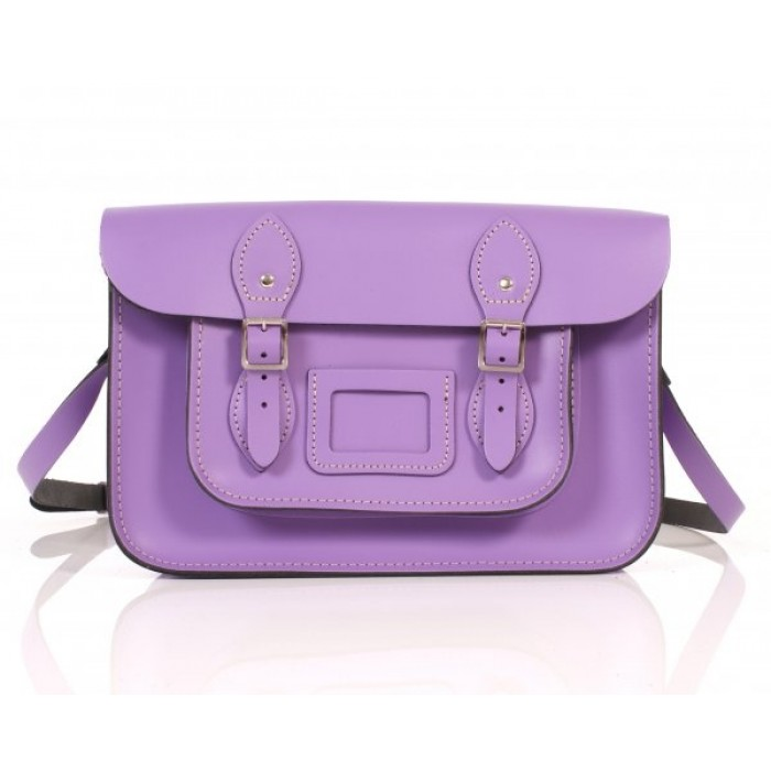 "13"" Light Purple English Leather Satchel"