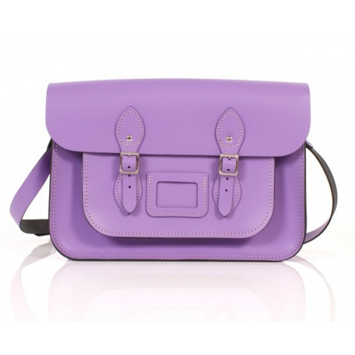 "14"" Light Purple English Leather Satchel"
