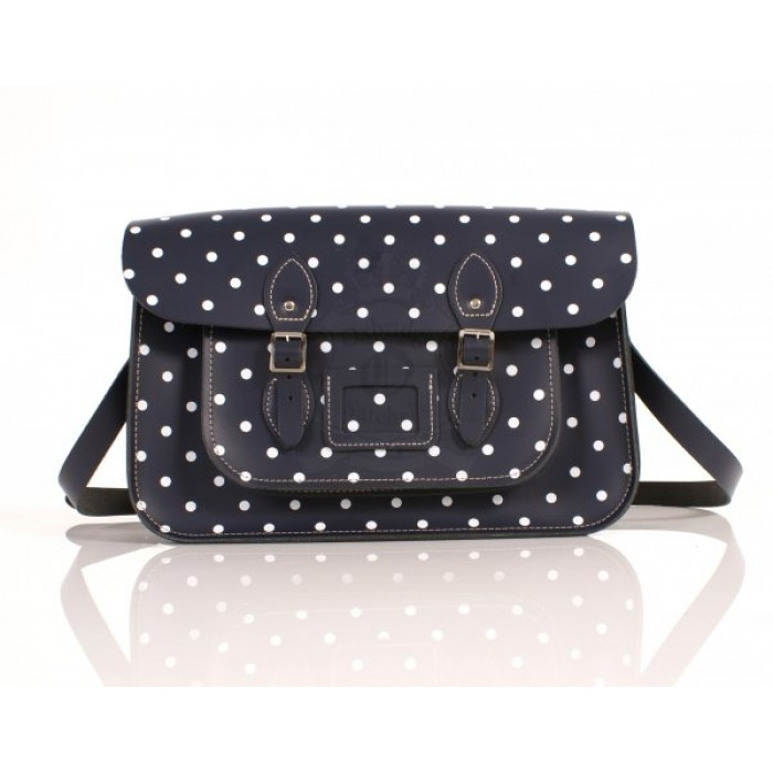 "15"" Navy Blue PolkaDots English Leather Satchel"