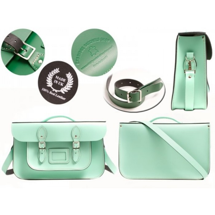 "15"" Mint Blue English Leather Satchel - Briefcase"
