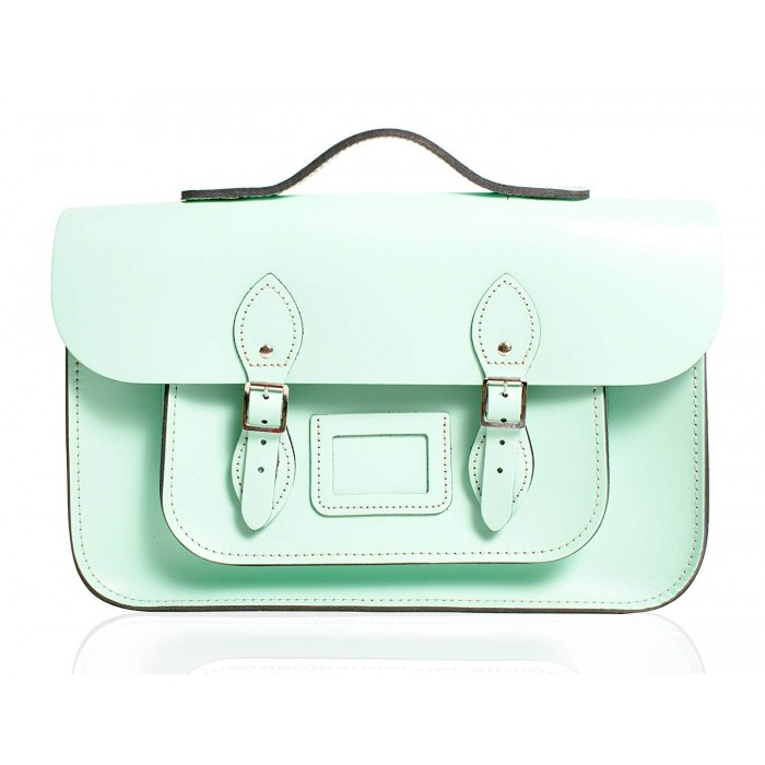"12"" Mint Blue English Leather Satchel - Handleable"
