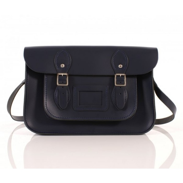 "13"" Navy Blue English Leather Satchel"