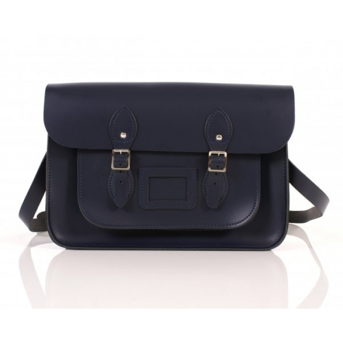 "14"" Navy Blue English Leather Satchel"