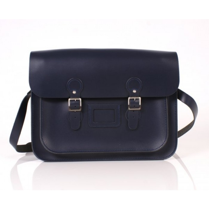 "15"" Navy Blue English Leather Satchel - Circle"