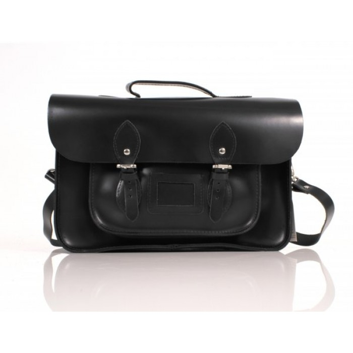 "15"" Black English Leather Satchel - Briefcase - New"