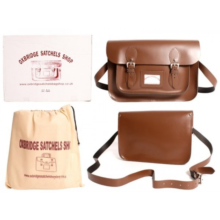 "13"" Chesnut Brown Leather Satchel - New"