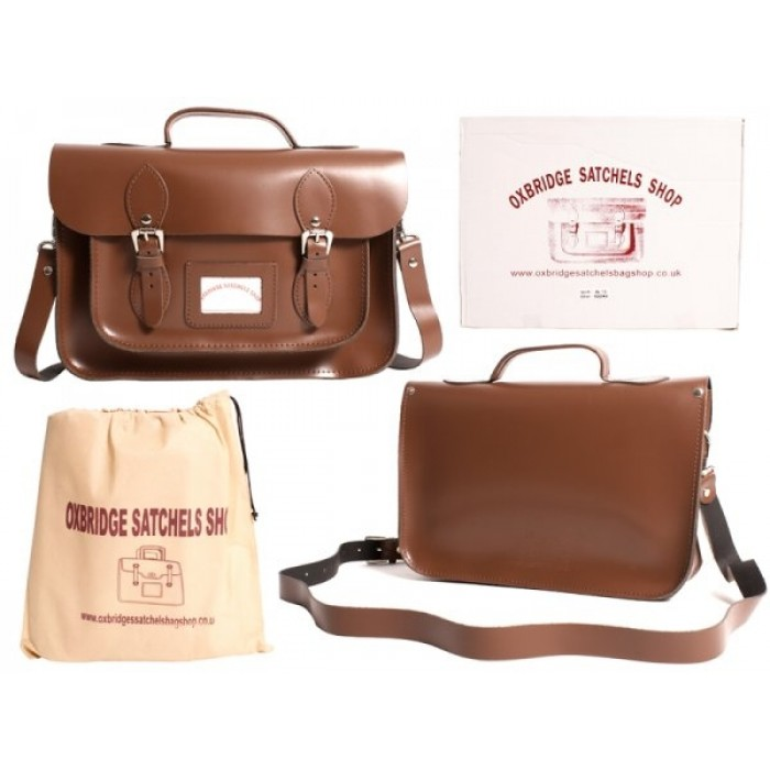 "13"" Chesnut Brown Leather Satchel - Handleable - New"