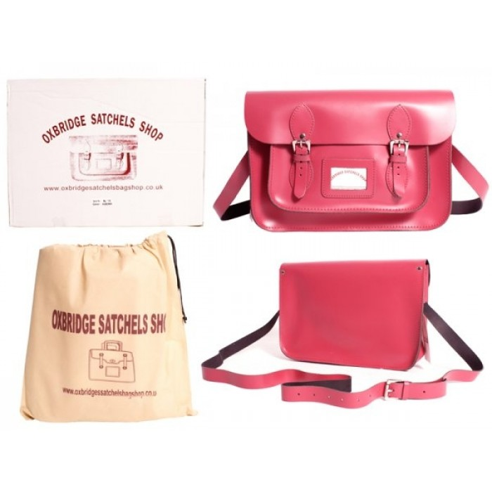 "13"" Fuschia Pink Leather Satchel - New"