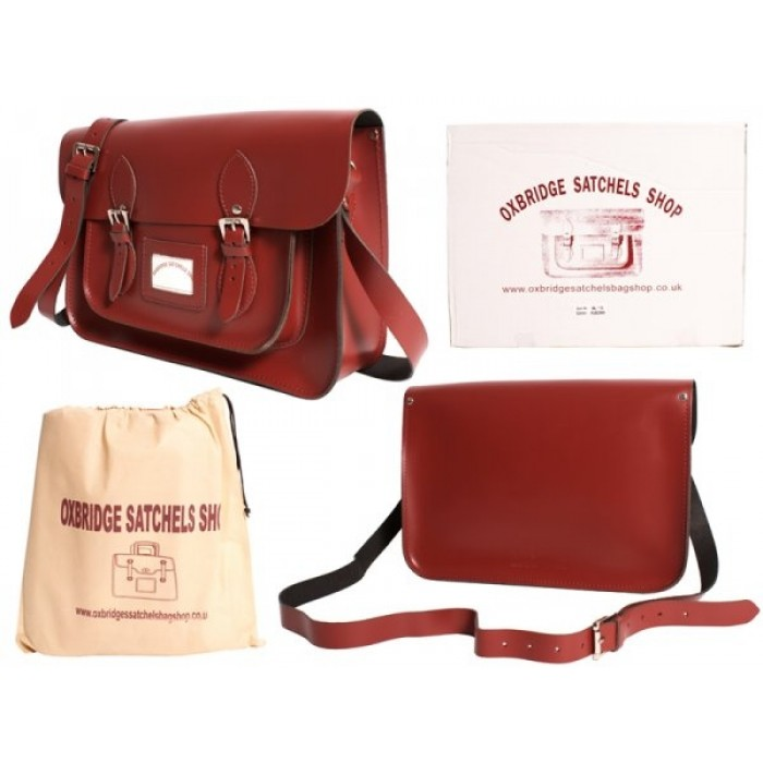 "13"" Red Leather Satchel - New"