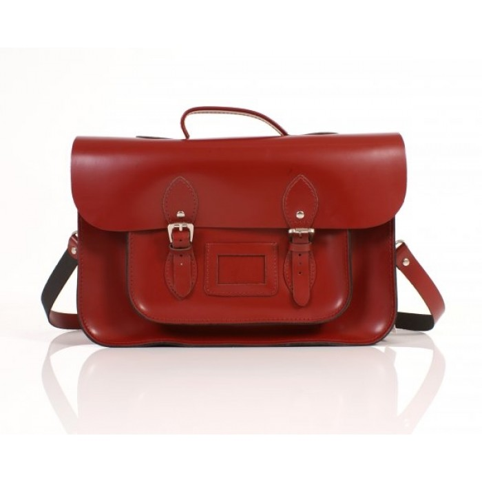 "15"" Red English Leather Satchel - Backpack - New"