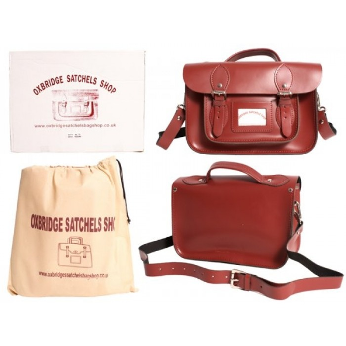 "13"" Red Leather Satchel - Handleable - New"