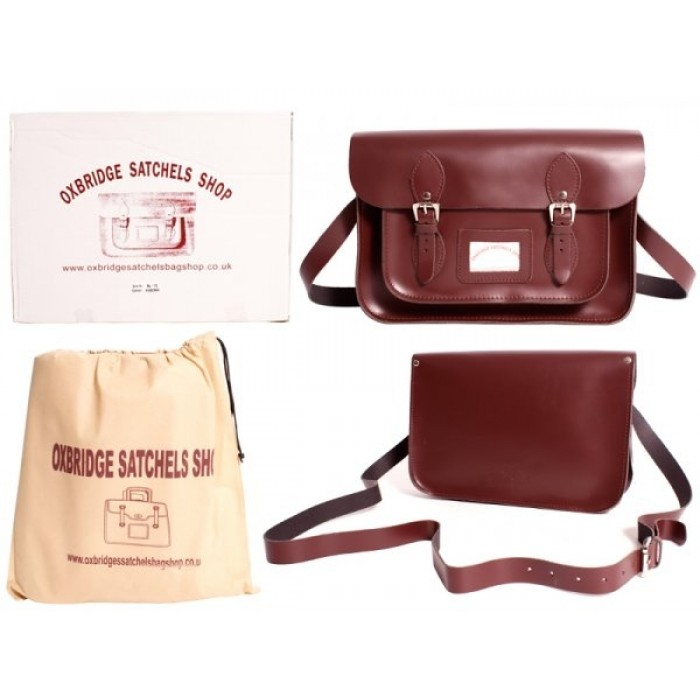 "13"" Wine Red Leather Satchel - New"