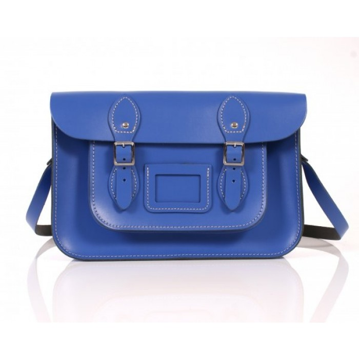 "13"" Oxford Blue English Leather Satchel"
