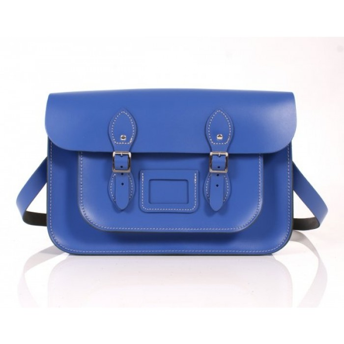 "14"" Blue English Leather Satchel"