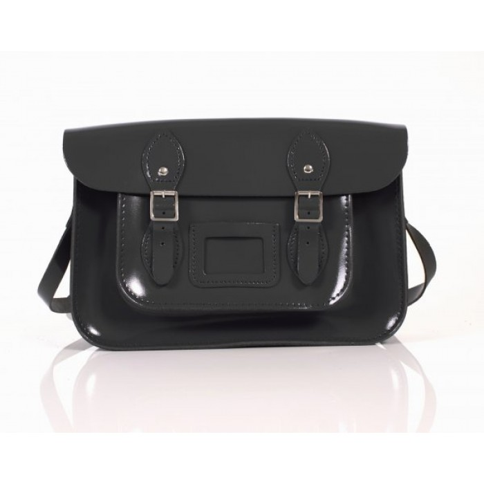 "13"" Black Patent English Leather Satchel"