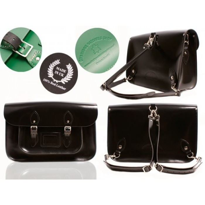 """15"""" Black Patent English Leather Satchel - Backpack"""