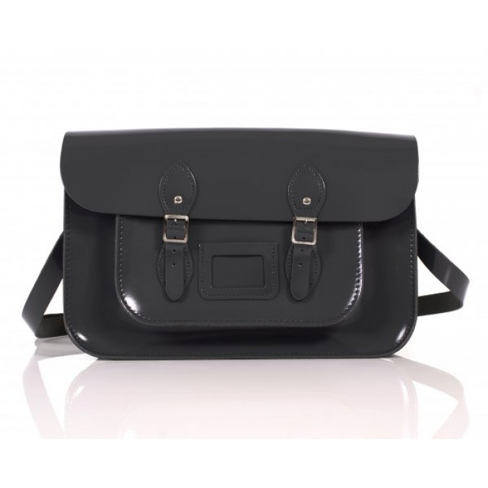 "14"" Black Patent English Leather Satchel"
