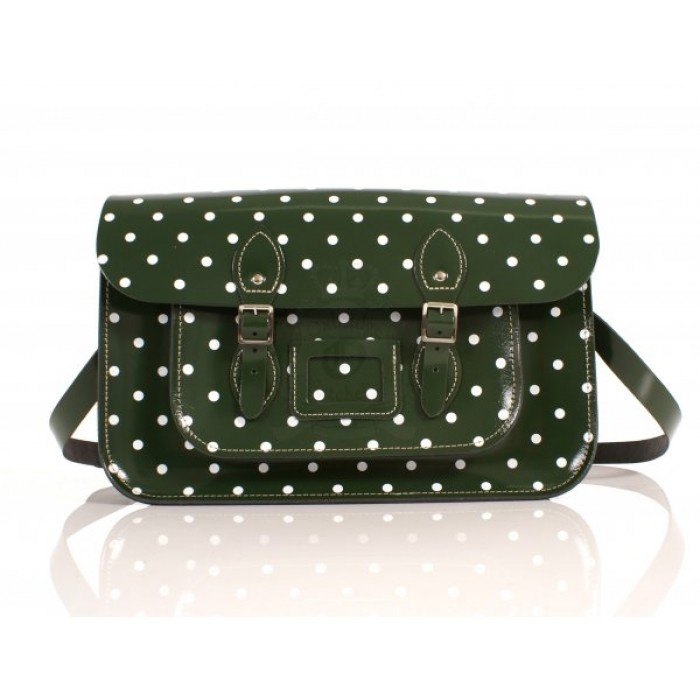 "15"" Dark Green Patent PolkaDots English Leather Satchel"