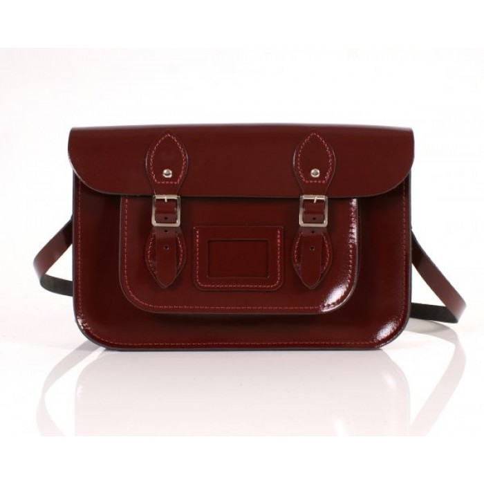 "13"" Oxblood Patent English Leather Satchel"