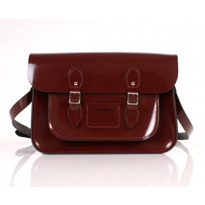 "14"" Oxblood Patent English Leather Satchel"