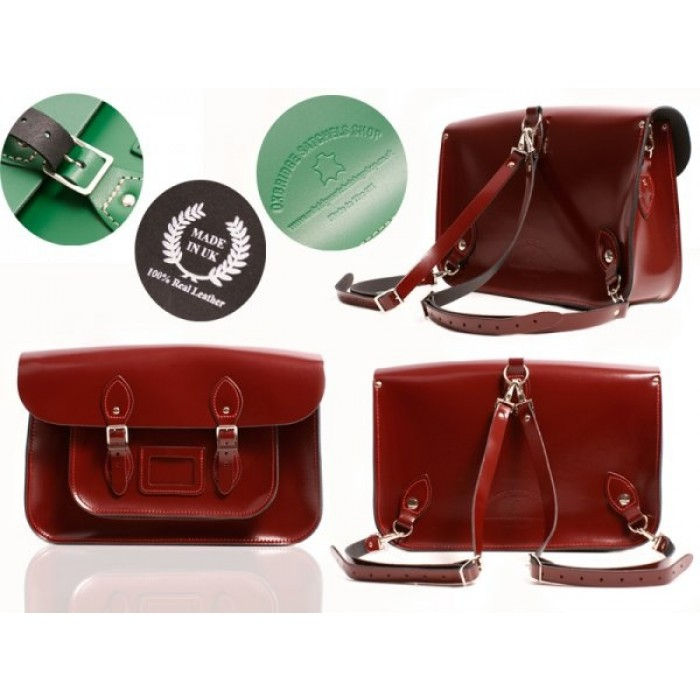 """15"""" Oxblood Patent English Leather Satchel - Backpack"""
