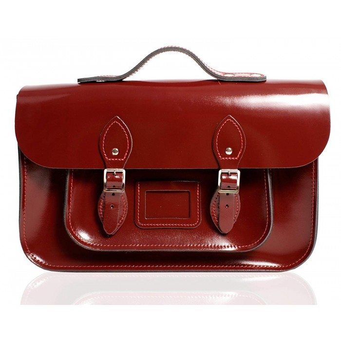 "12"" Oxblood Patent English Leather Satchel - Handleable"