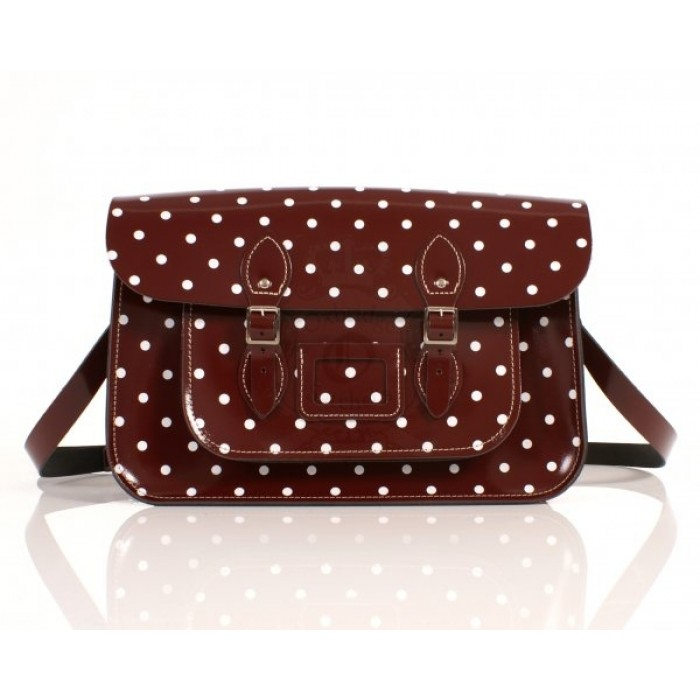 "15"" Oxblood Patent PolkaDots English Leather Satchel"