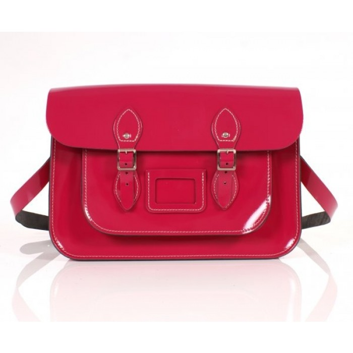 "14"" Cabaret Pink Patent English Leather Satchel"
