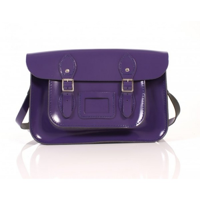 "13"" Purple Patent English Leather Satchel"