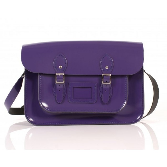 "14"" Purple Patent English Leather Satchel"