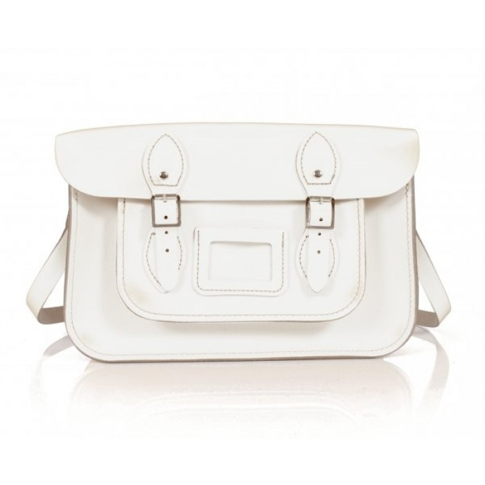 "13"" White Patent English Leather Satchel"