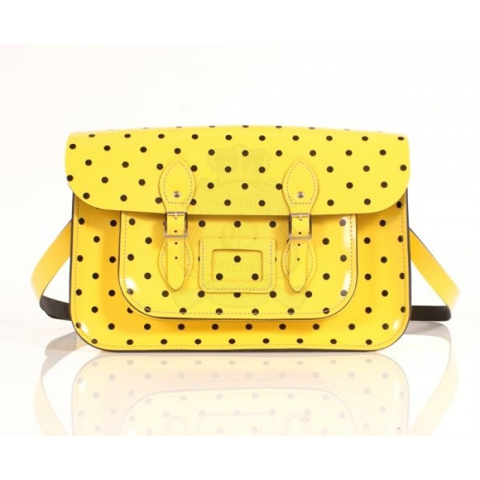 "15"" Yellow PolkaDots English Leather Satchel"
