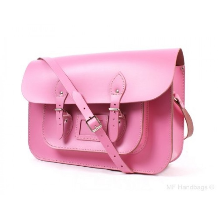 "14"" Baby Pink English Leather Satchel"