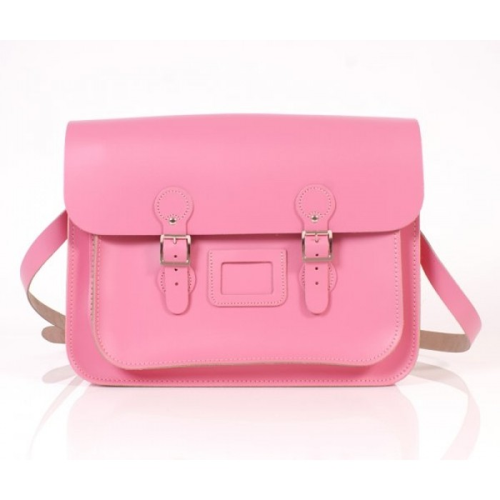 "15"" Baby Pink English Leather Satchel - Circle"