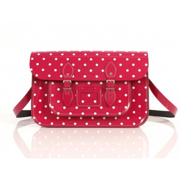 "15"" Magenta PolkaDots English Leather Satchel"