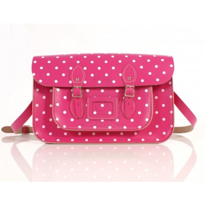 "15"" Pink PolkaDots English Leather Satchel"