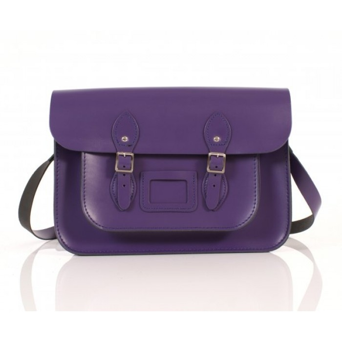 "14"" Purple  English Leather Satchel"