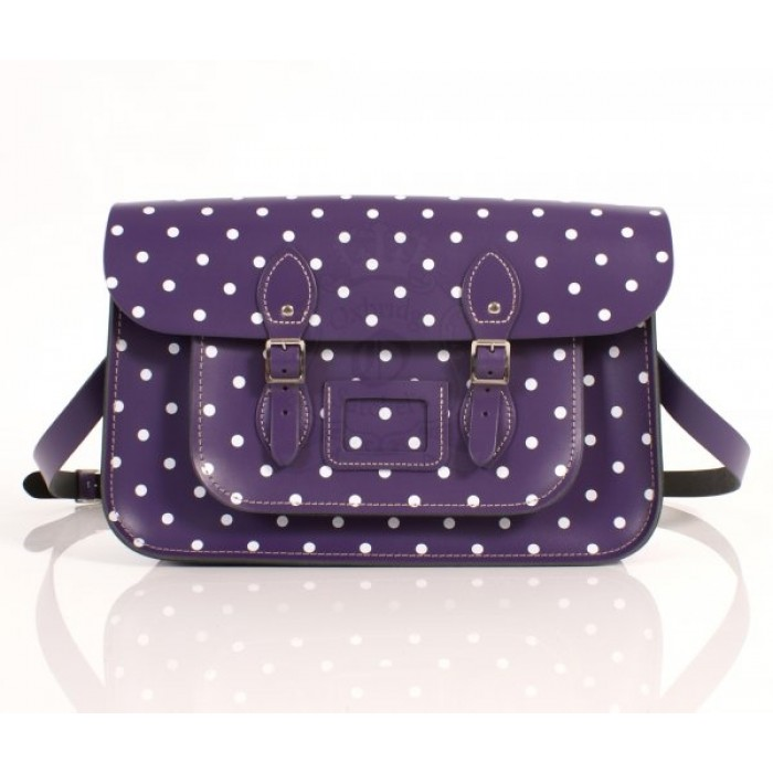 "15"" Purple PolkaDots English Leather Satchel"