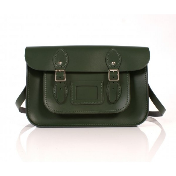 "13"" Green English Leather Satchel"