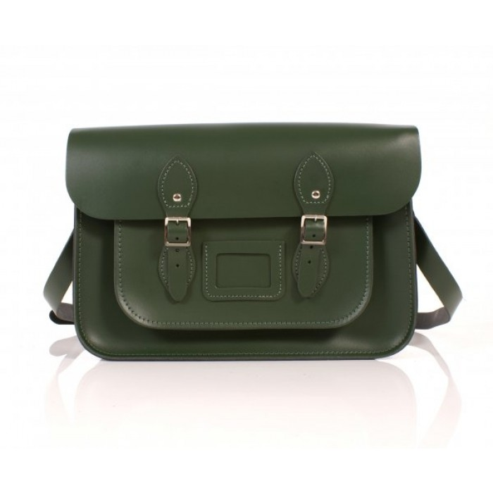 "14"" Racing Green English Leather Satchel"