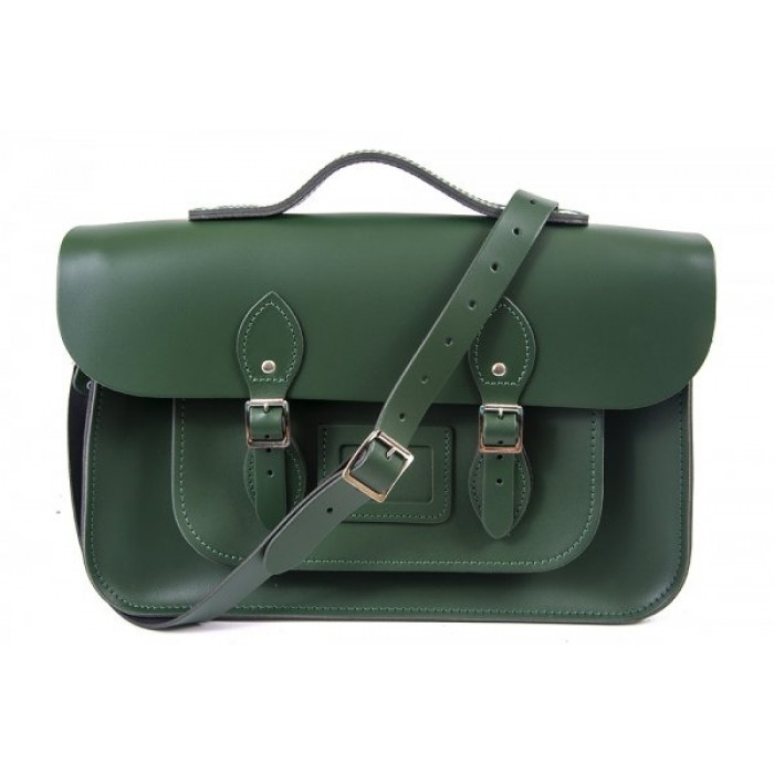 "15"" Racing Green English Leather Satchel - Magnetic Handleable"