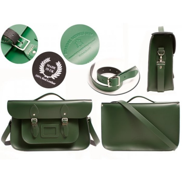 "15"" Racing Green English Leather Satchel - Briefcase"