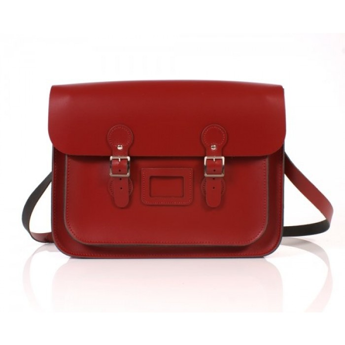"15"" Red English Leather Satchel - Circle"