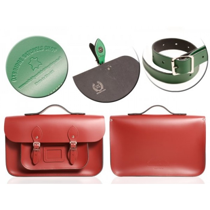 "15"" Red English Leather Satchel - Magnetic Handleable"